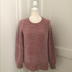 LOFT Chenille Blouson Sweater in Pink